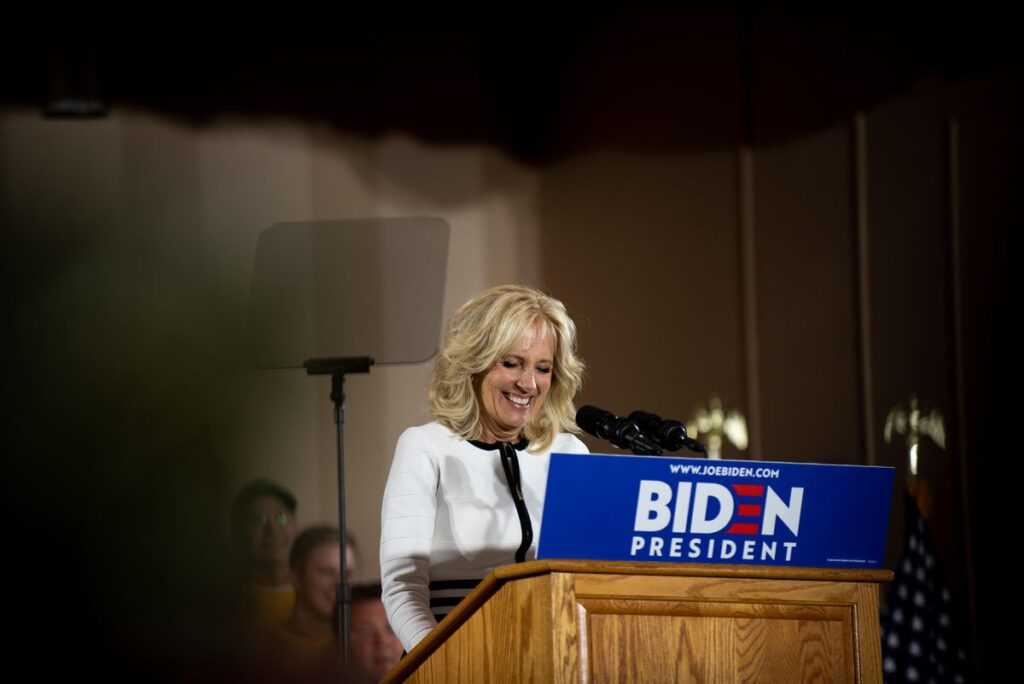 Jill Biden sharing words while she was second lady