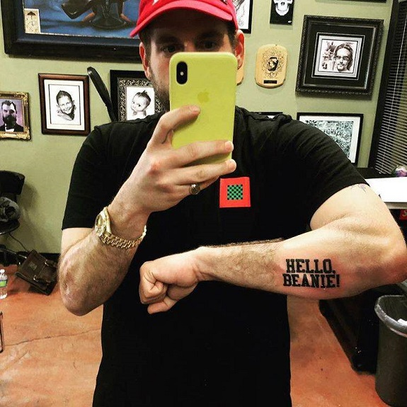Jonah Hill Hello Beanie tattoo